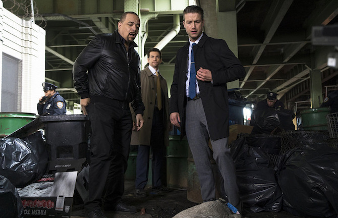 "LAW & ORDER: SPECIAL VICTIMS UNIT -- ""Melancholy Pursuit"" Episode 17008 -- Pictured: (l-r) Ice-T as Detective Odafin ""Fin"" Tutuola, Andy Karl as Sgt. Mike Dodds, Peter Scanavino as Dominick ""Sonny"" Carisi -- (Photo by: Michael Parmalee/NBC)"