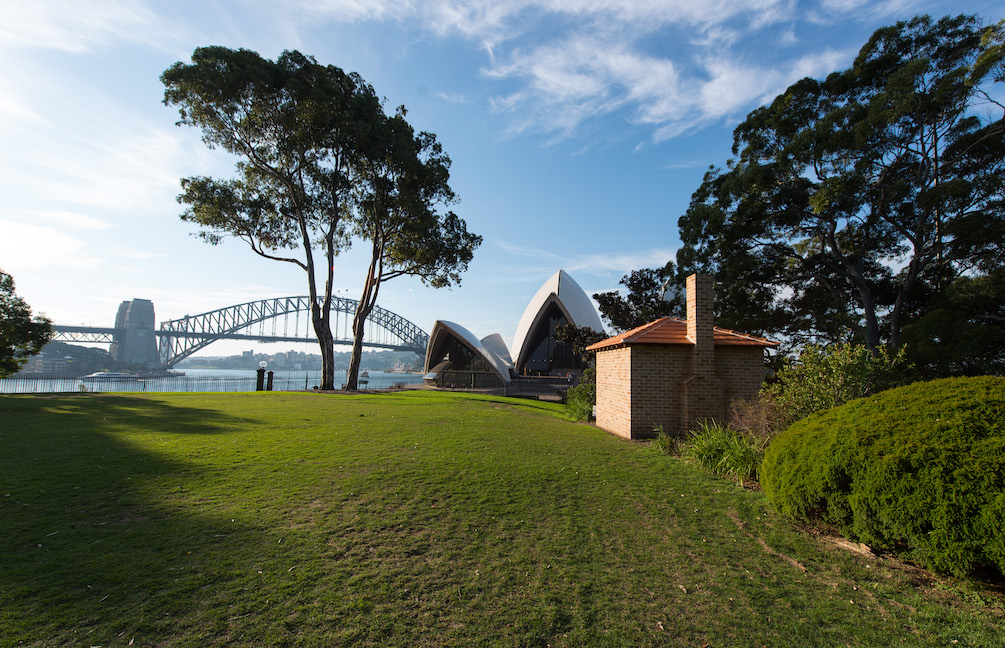 Sydney, Australia: Artist Archie Moore's, A Home Away From Home (Bennelong/Vera's Hut 2016) as part of the 20th Bienale of Sydney at the Botanic Gardens on 11th, April, 2016.